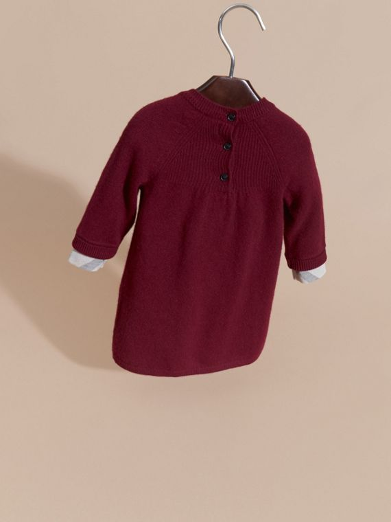 Check Cuff Knitted Cashmere Dress in Mahogany Red - cell image 3