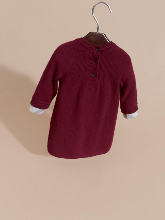 Rouge acajou Robe en maille de cachemire avec poignets à motif check Rouge Acajou - cell image 3