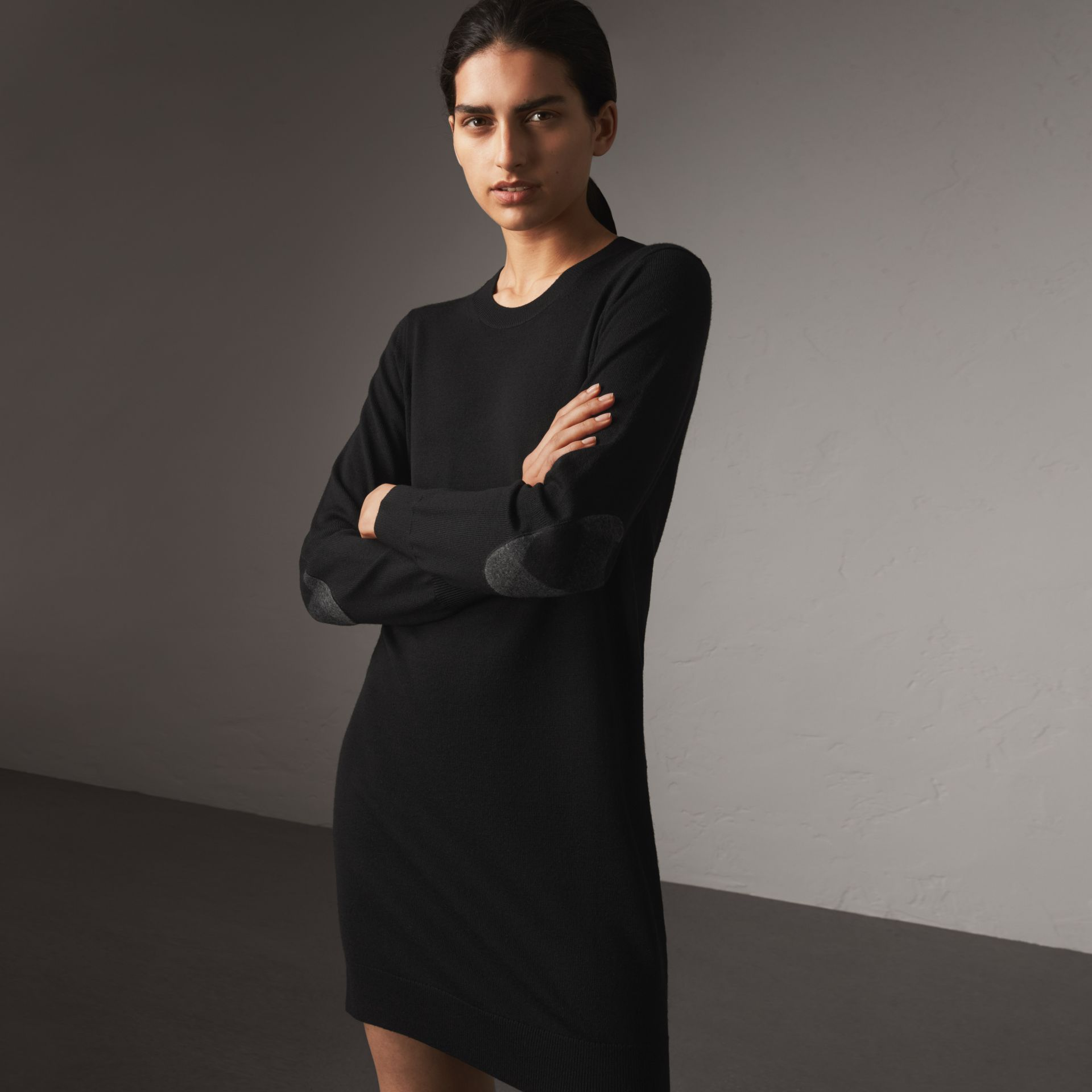 Check Elbow Detail Merino Wool Sweater Dress in Black - Women | Burberry United States - gallery image 0
