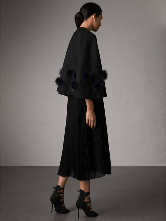 Fur Pom-pom Detail Double-faced Cashmere Wool Cape in Black - Women | Burberry - cell image 2