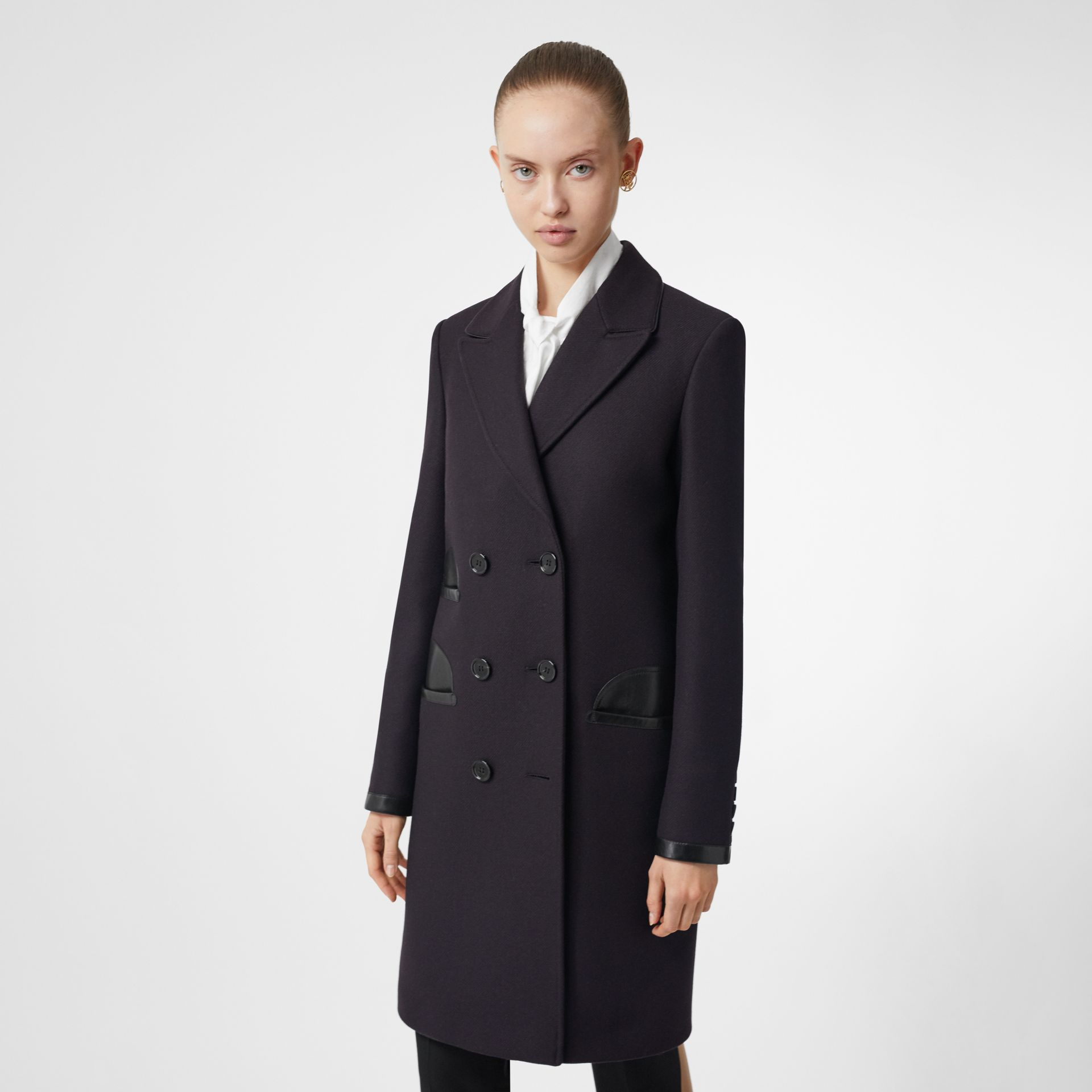 Lambskin Trim Wool Cashmere Blend Tailored Coat in Black Maroon - Women | Burberry - gallery image 4