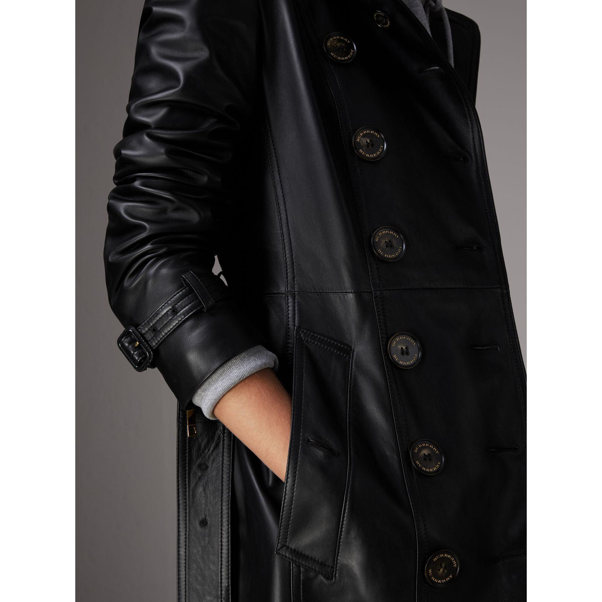 Lambskin Trench Coat in Black - Women | Burberry Singapore - gallery image 4