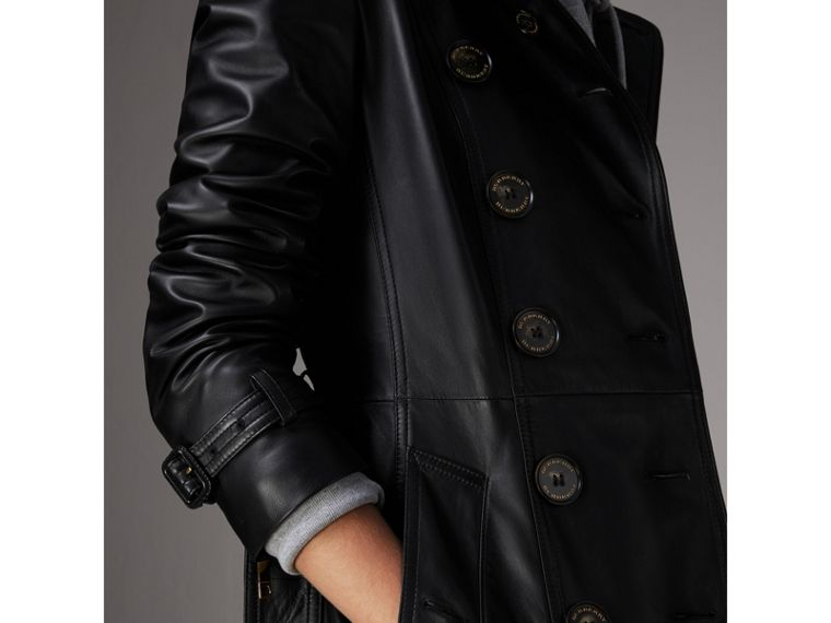 Lambskin Trench Coat in Black - Women | Burberry United Kingdom - cell image 4