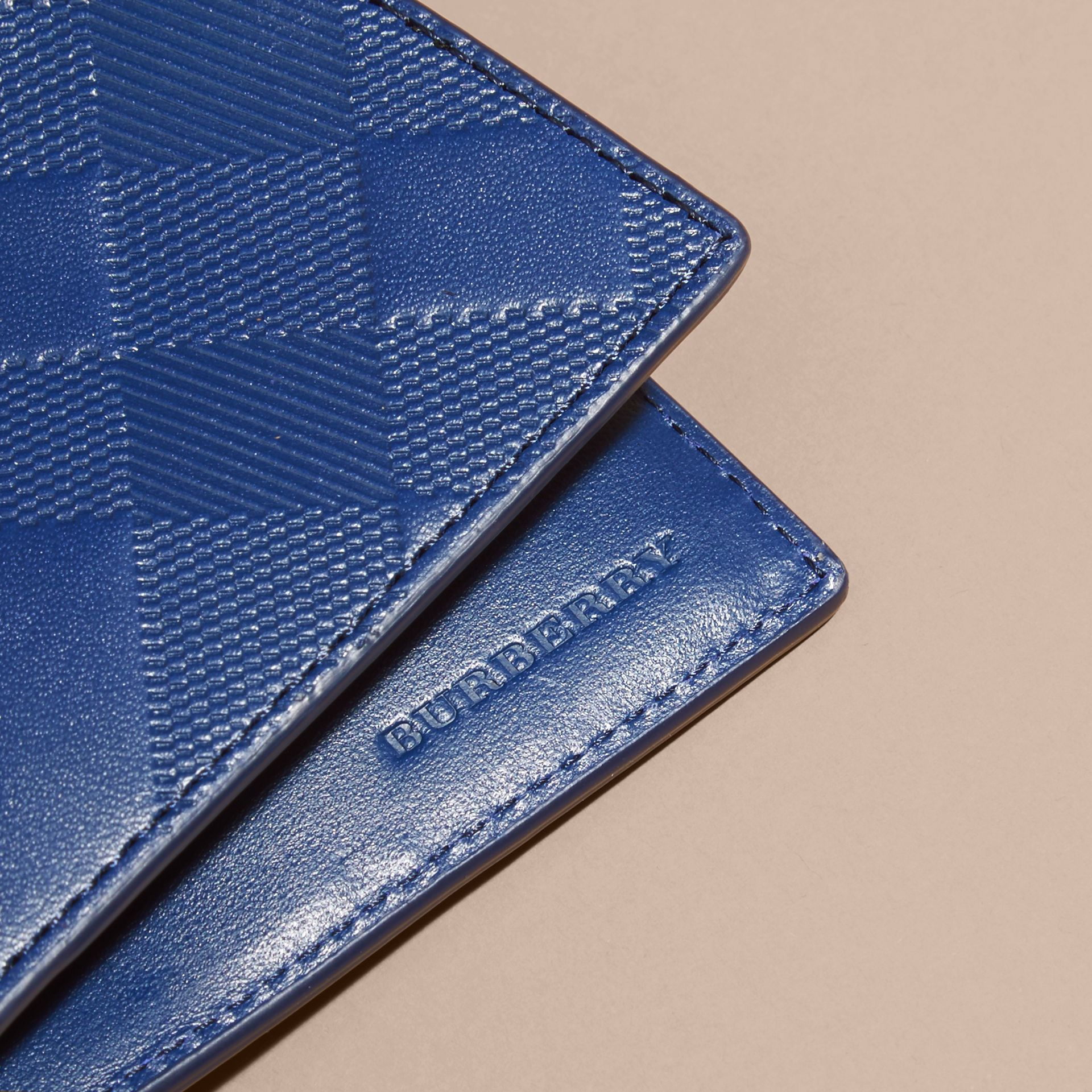 Lapis blue Embossed Check Leather Folding Wallet - gallery image 2