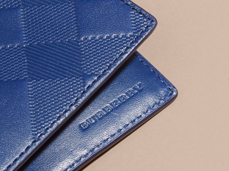 Lapis blue Embossed Check Leather Folding Wallet - cell image 1