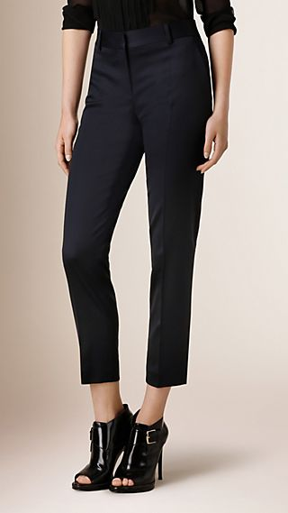 Cropped Stretch Wool Tailored Trousers