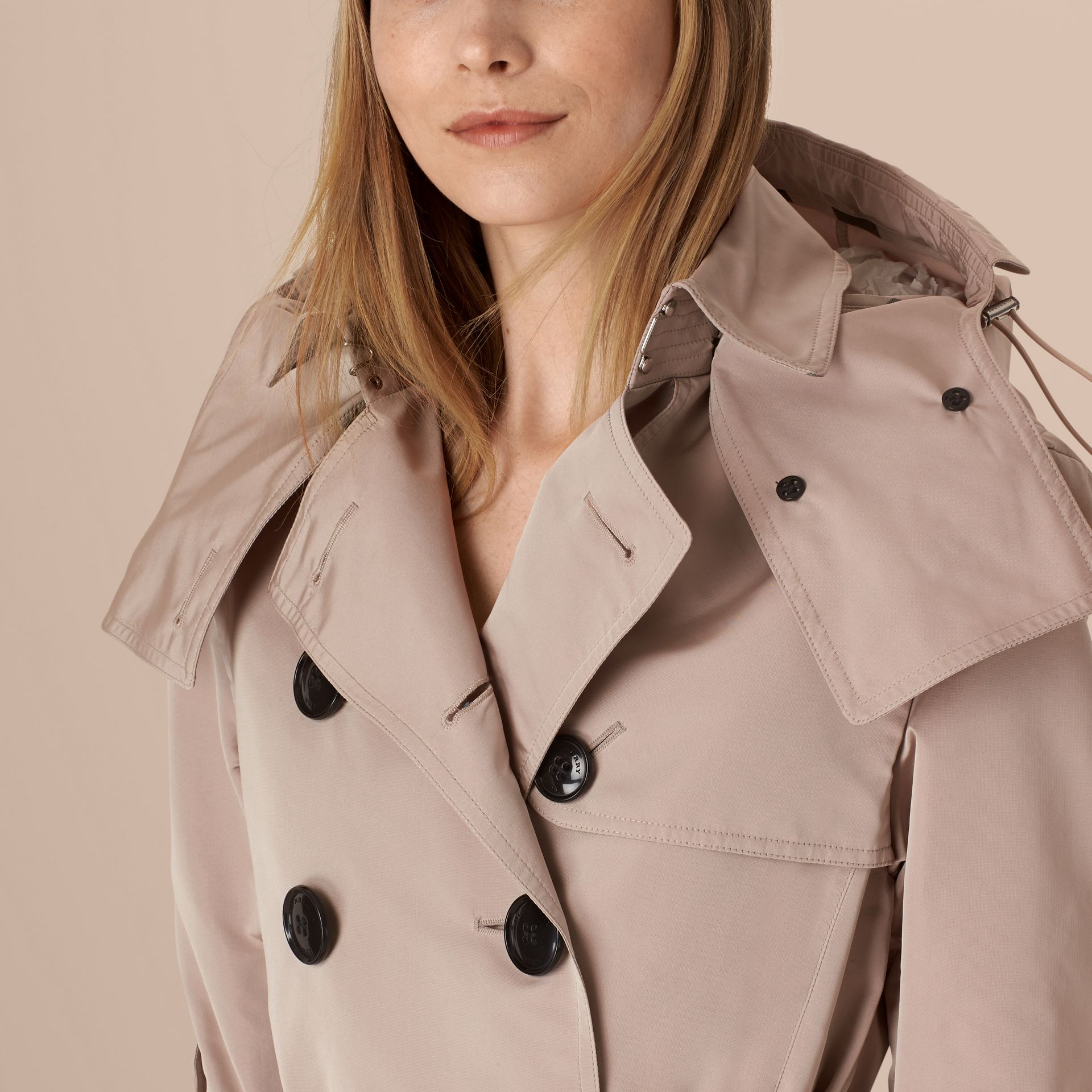 Stone Showerproof Trench Coat with Detachable Hood - gallery image 5