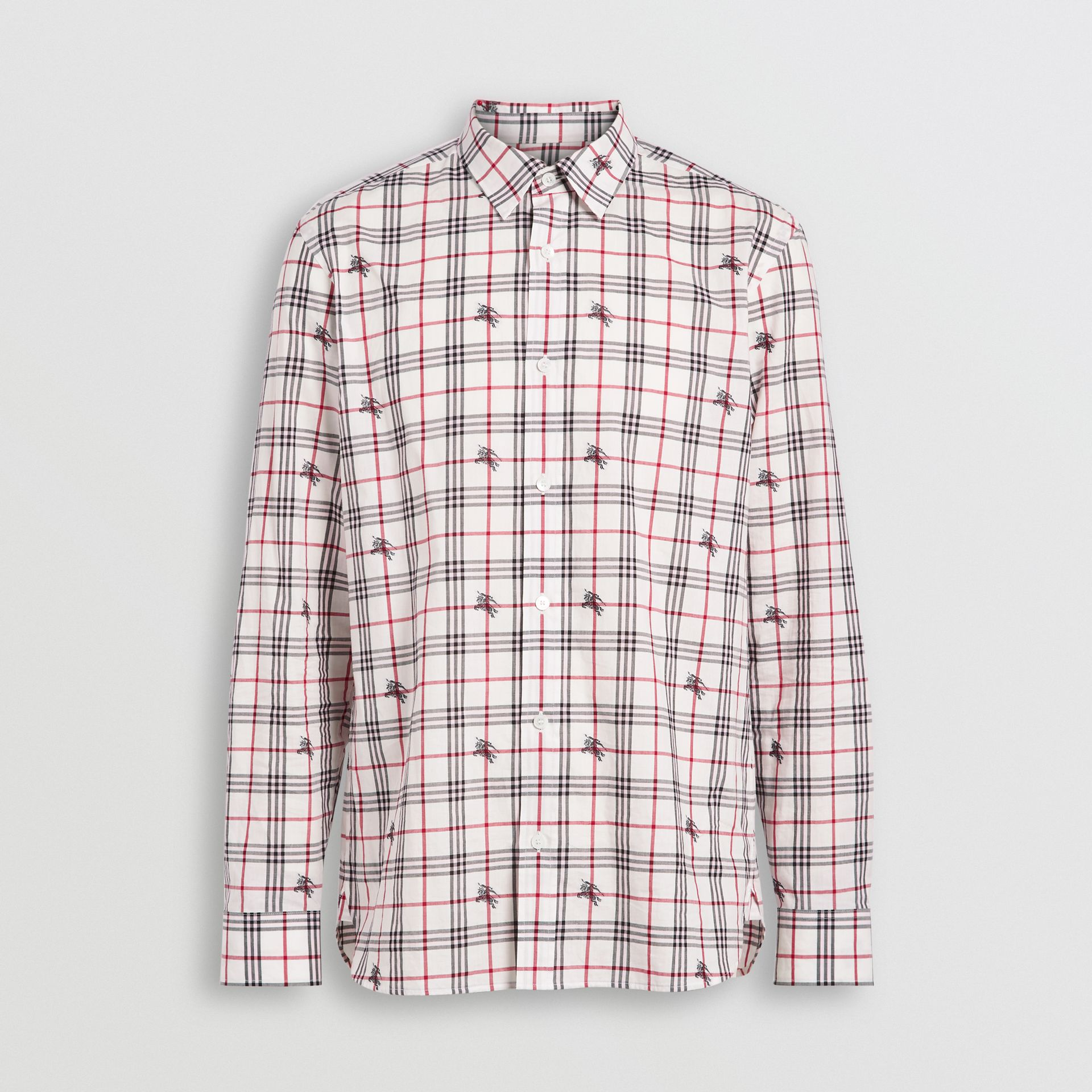 Equestrian Knight Check Cotton Shirt in Natural White - Men | Burberry - gallery image 3