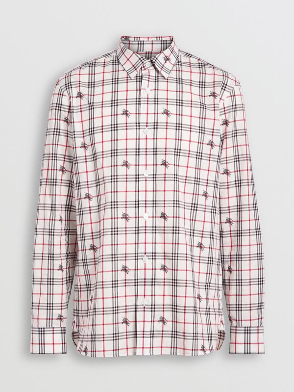Fil Coupé Check Cotton Shirt in Natural White - Men | Burberry - cell image 3