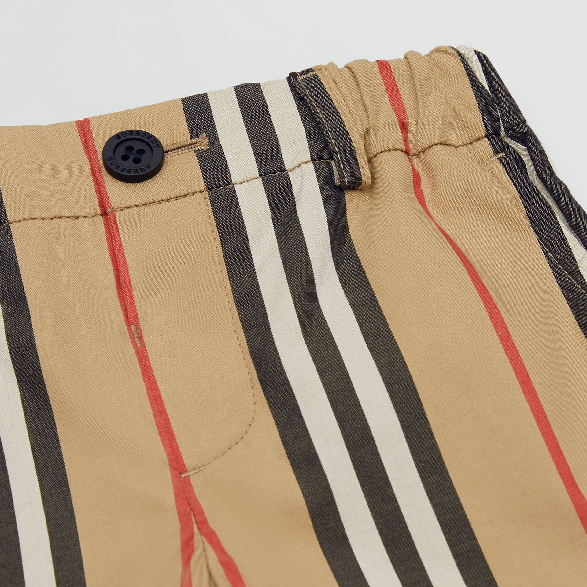 Icon Stripe Cotton Chino Shorts in Archive Beige - Children | Burberry - gallery image 1