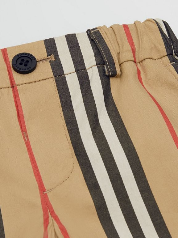 Icon Stripe Cotton Chino Shorts in Archive Beige - Children | Burberry - cell image 1