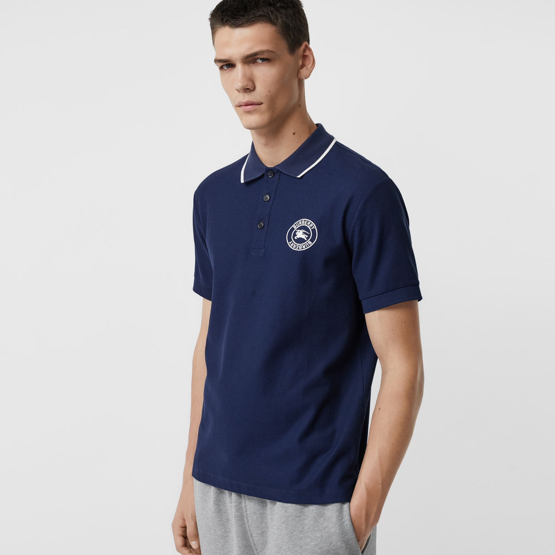 Embroidered Logo Cotton Piqué Polo Shirt in Navy - Men | Burberry - gallery image 0