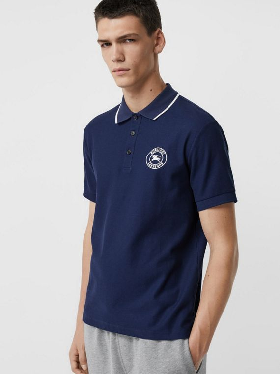 Embroidered Logo Cotton Piqué Polo Shirt in Navy