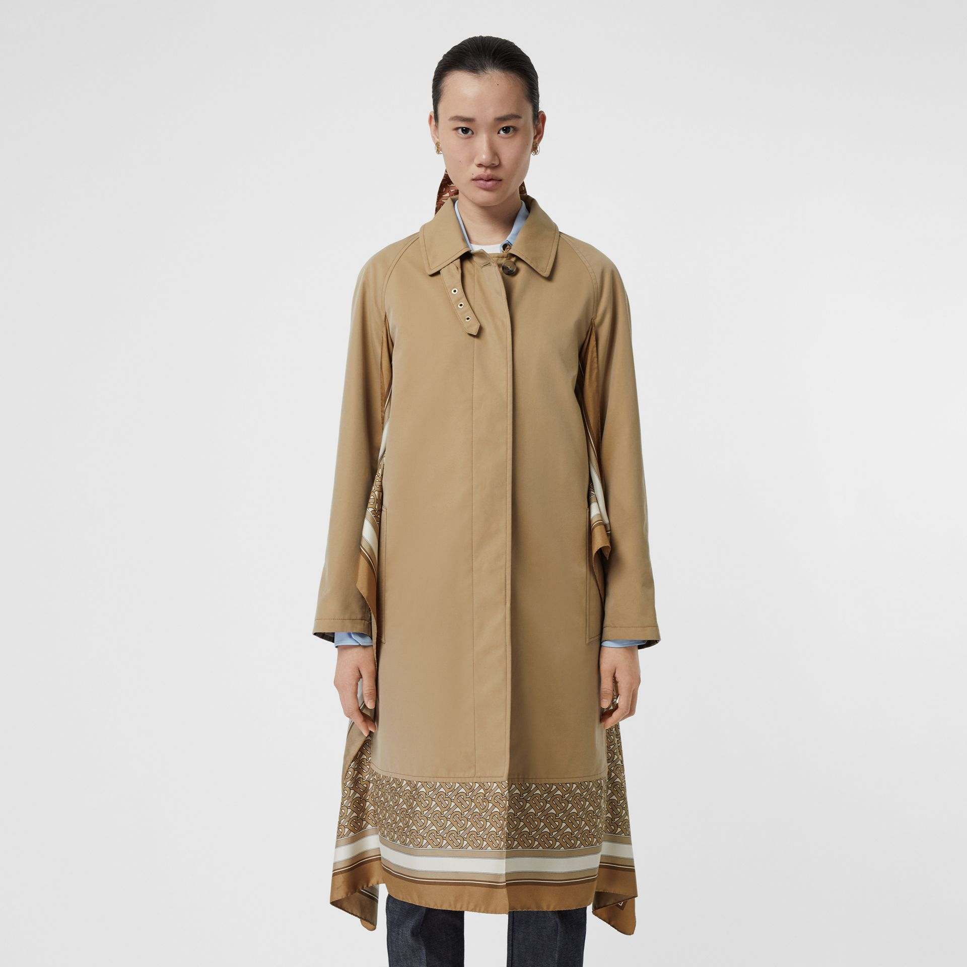 Monogram Print Silk Panel Cotton Car Coat in Pale Honey - Women | Burberry - gallery image 6