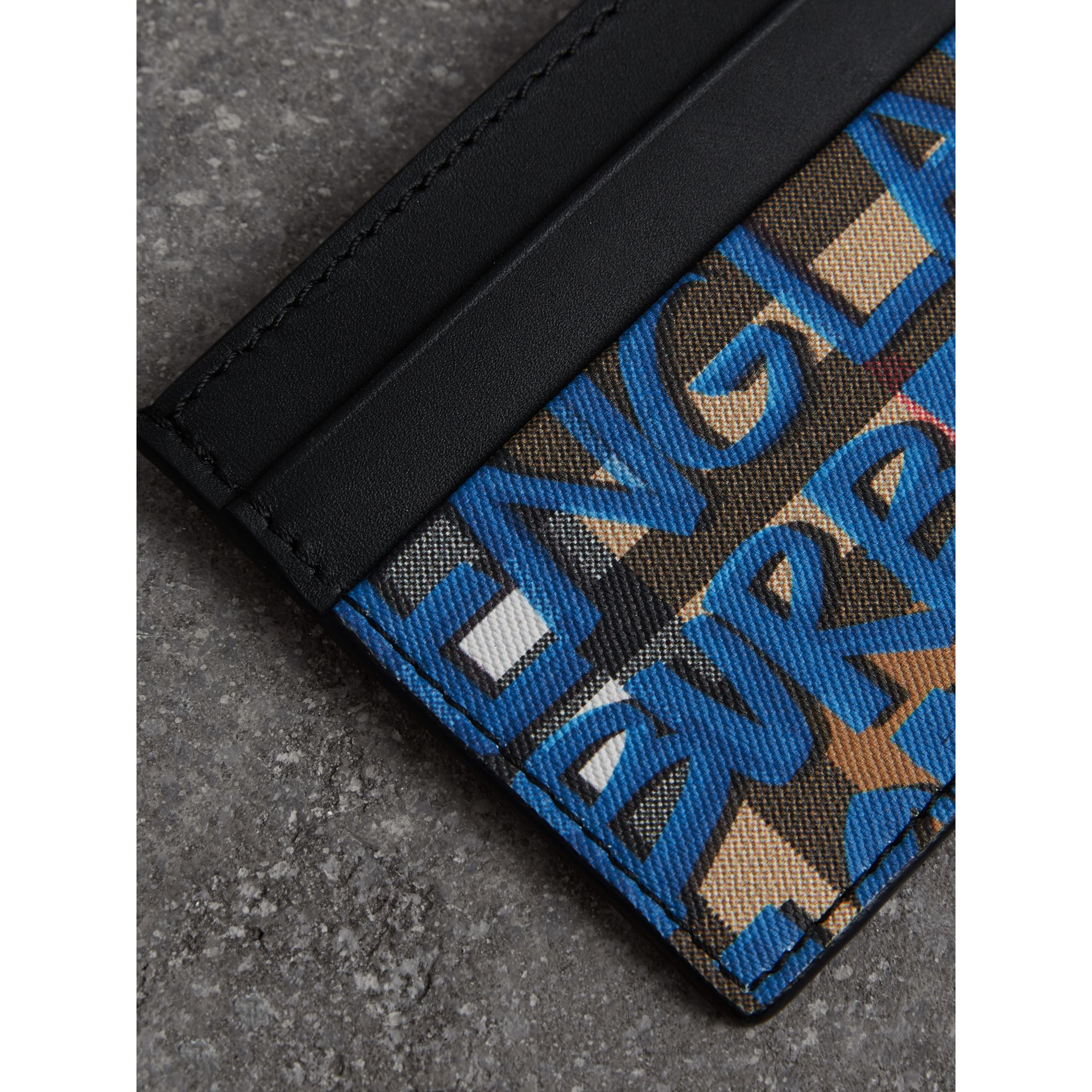 Graffiti Print Vintage Check Leather Card Case in Canvas Blue/antique Yellow | Burberry United Kingdom - gallery image 1