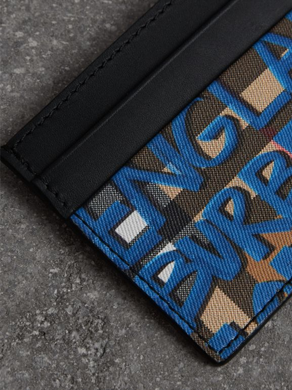 Graffiti Print Vintage Check Leather Card Case in Canvas Blue/antique Yellow | Burberry Hong Kong - cell image 1