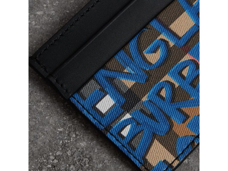 Graffiti Print Vintage Check Leather Card Case in Canvas Blue/antique Yellow | Burberry - cell image 1
