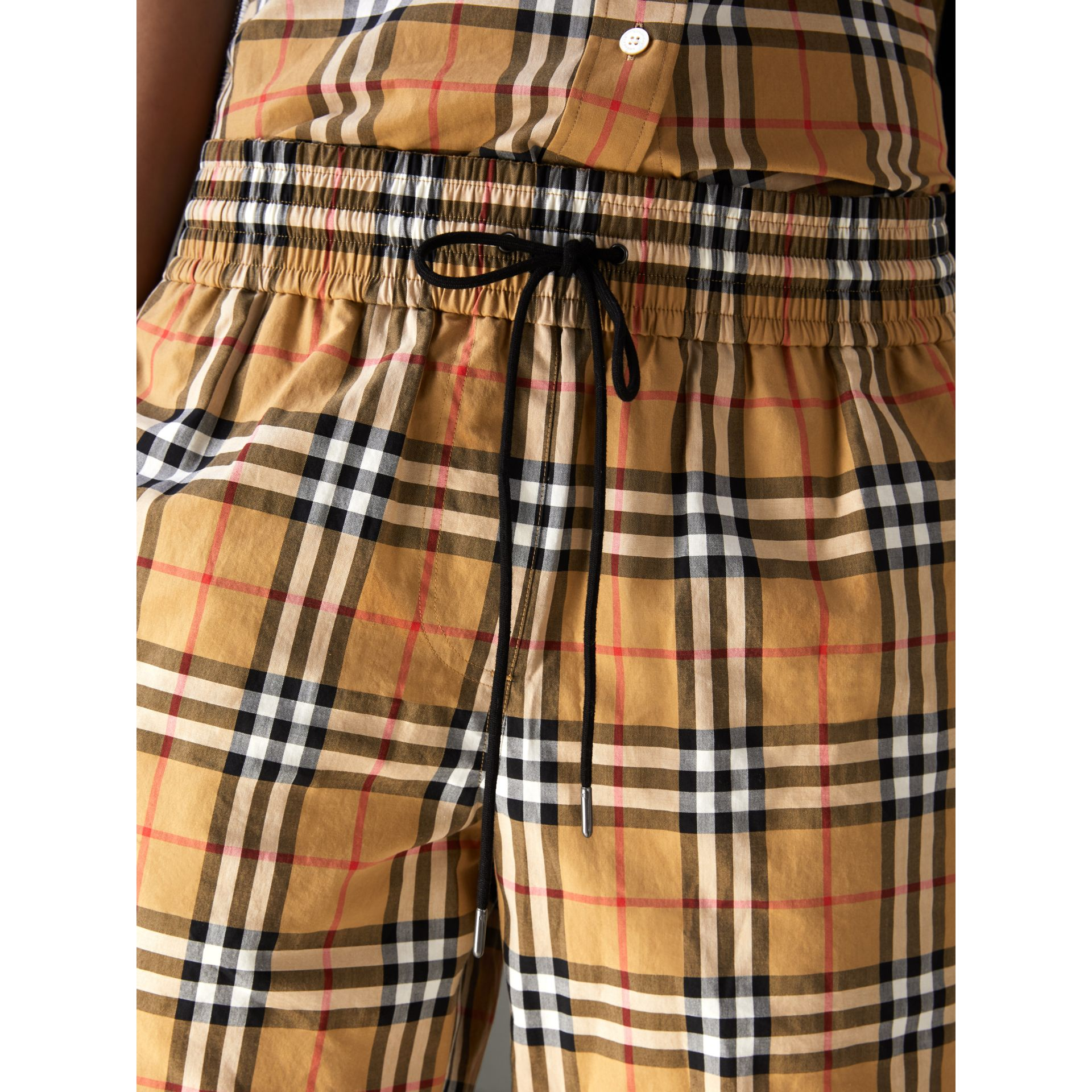 Vintage Check Cotton Drawcord Shorts in Antique Yellow - Women | Burberry - gallery image 1