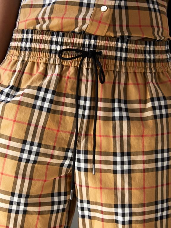 Vintage Check Cotton Drawcord Shorts in Antique Yellow - Women | Burberry - cell image 1