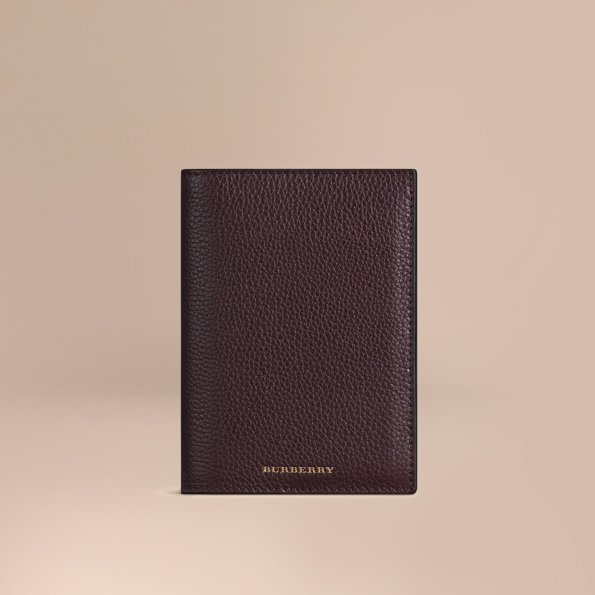 Grainy Leather Passport Cover in Ebony Red | Burberry - gallery image 1