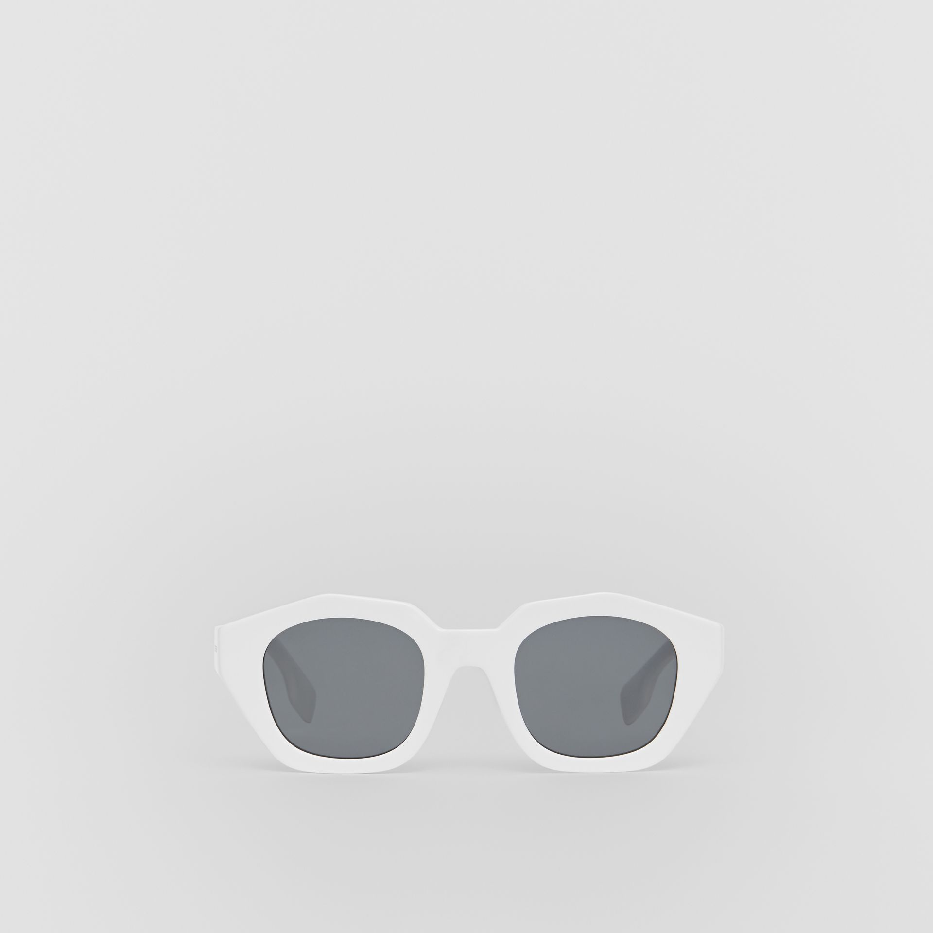 Geometric Frame Sunglasses in White - Women | Burberry - gallery image 0