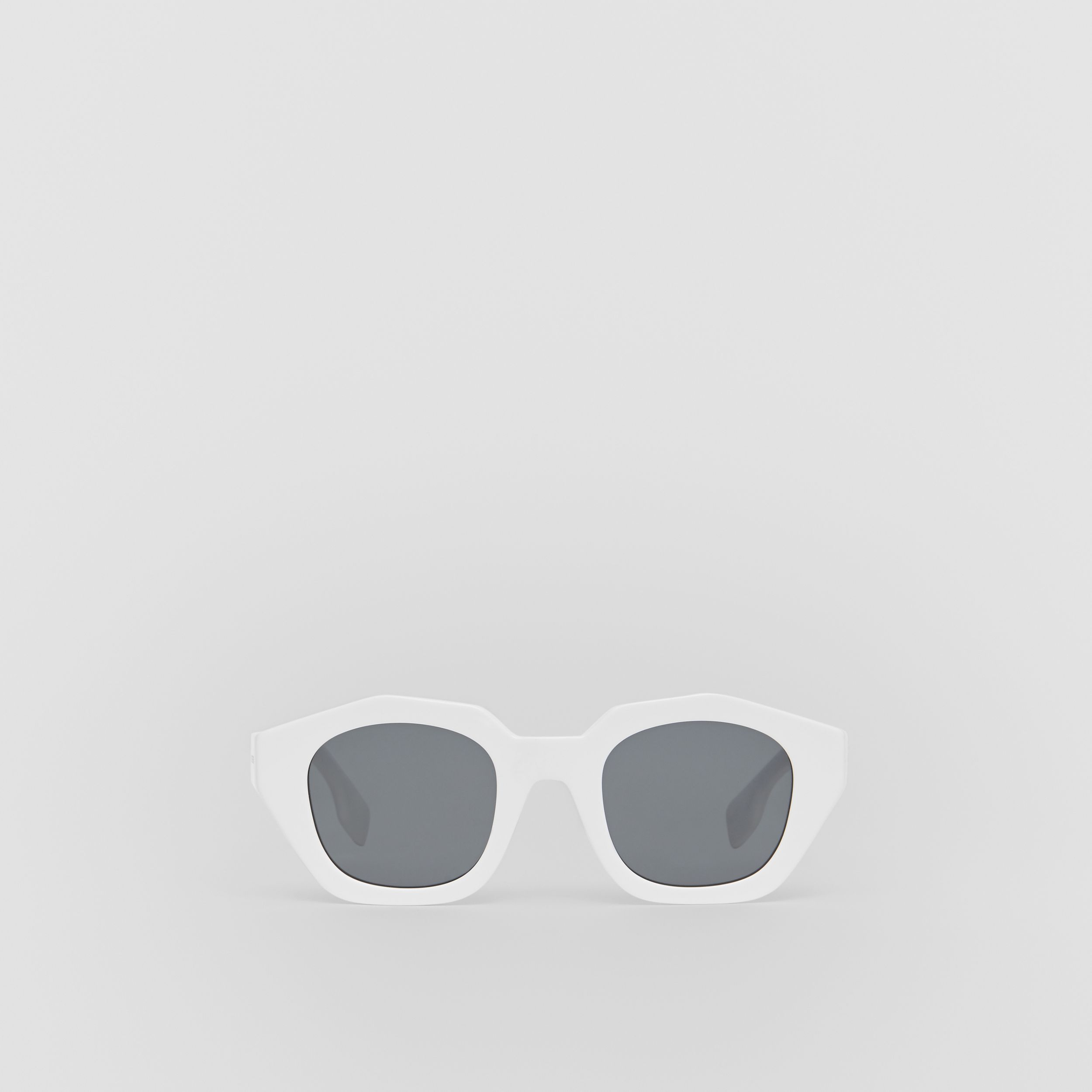 Geometric Frame Sunglasses in White | Burberry Singapore - 1