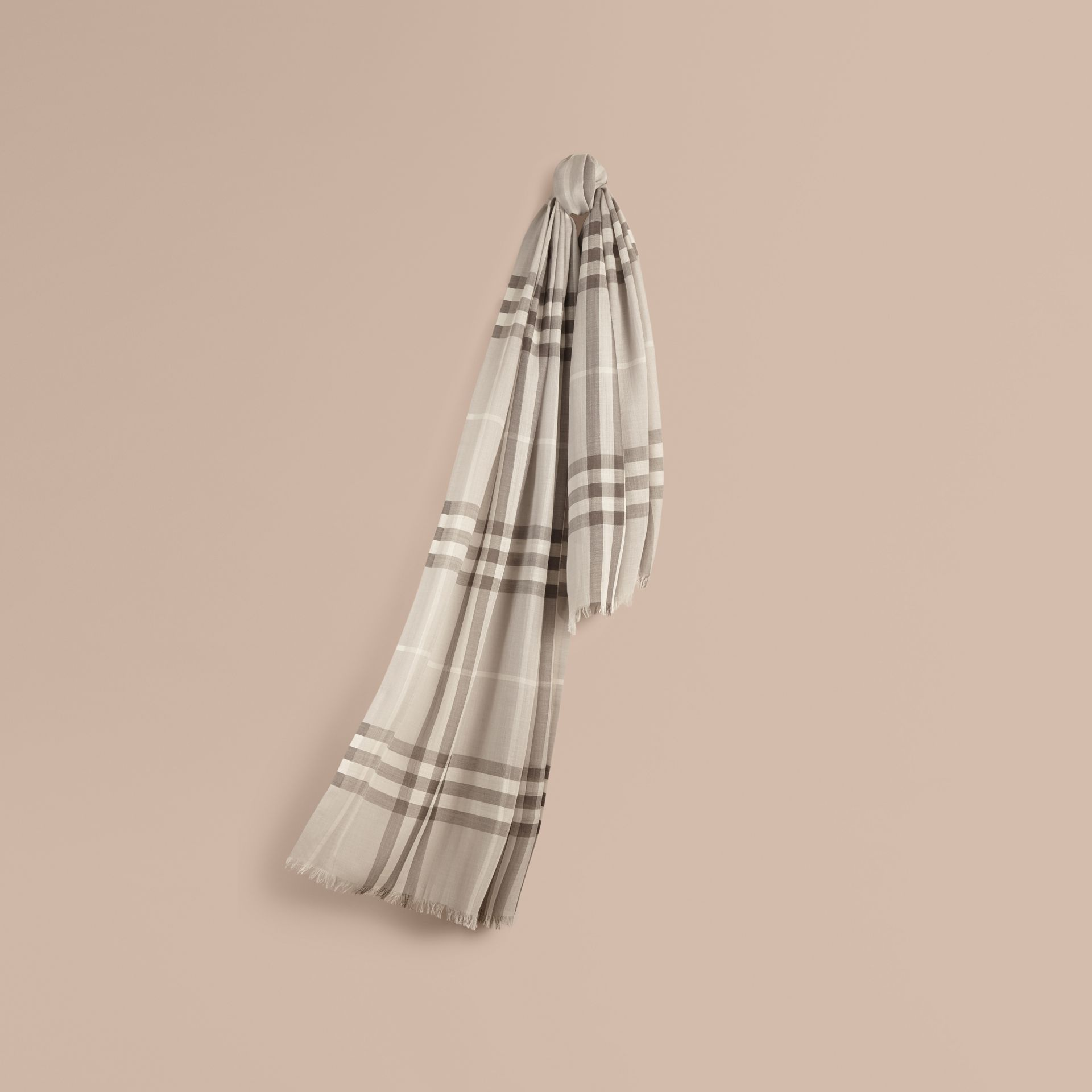 Pale grey Lightweight Check Wool and Silk Scarf Pale Grey - gallery image 1