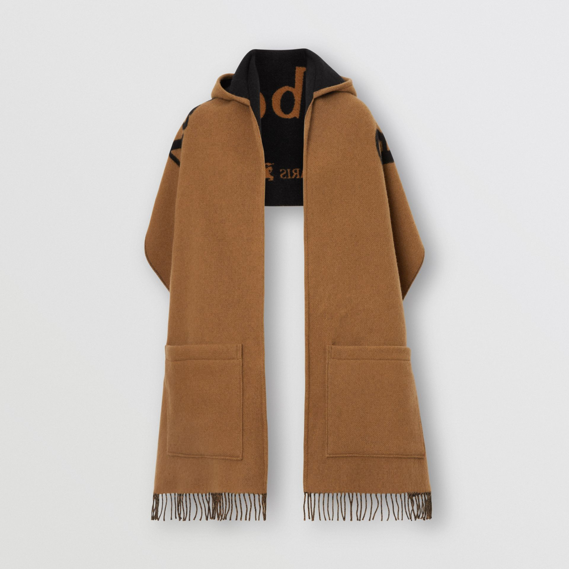 Archive Logo Wool Cashmere Hooded Scarf in Hazelnut - Women | Burberry United Kingdom - gallery image 3