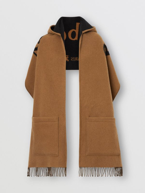 Archive Logo Wool Cashmere Hooded Scarf in Hazelnut - Women | Burberry United Kingdom - cell image 3