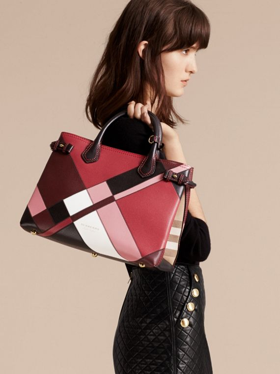 The Medium Banner in Colour Block Leather in Pink - Women | Burberry Canada - cell image 3