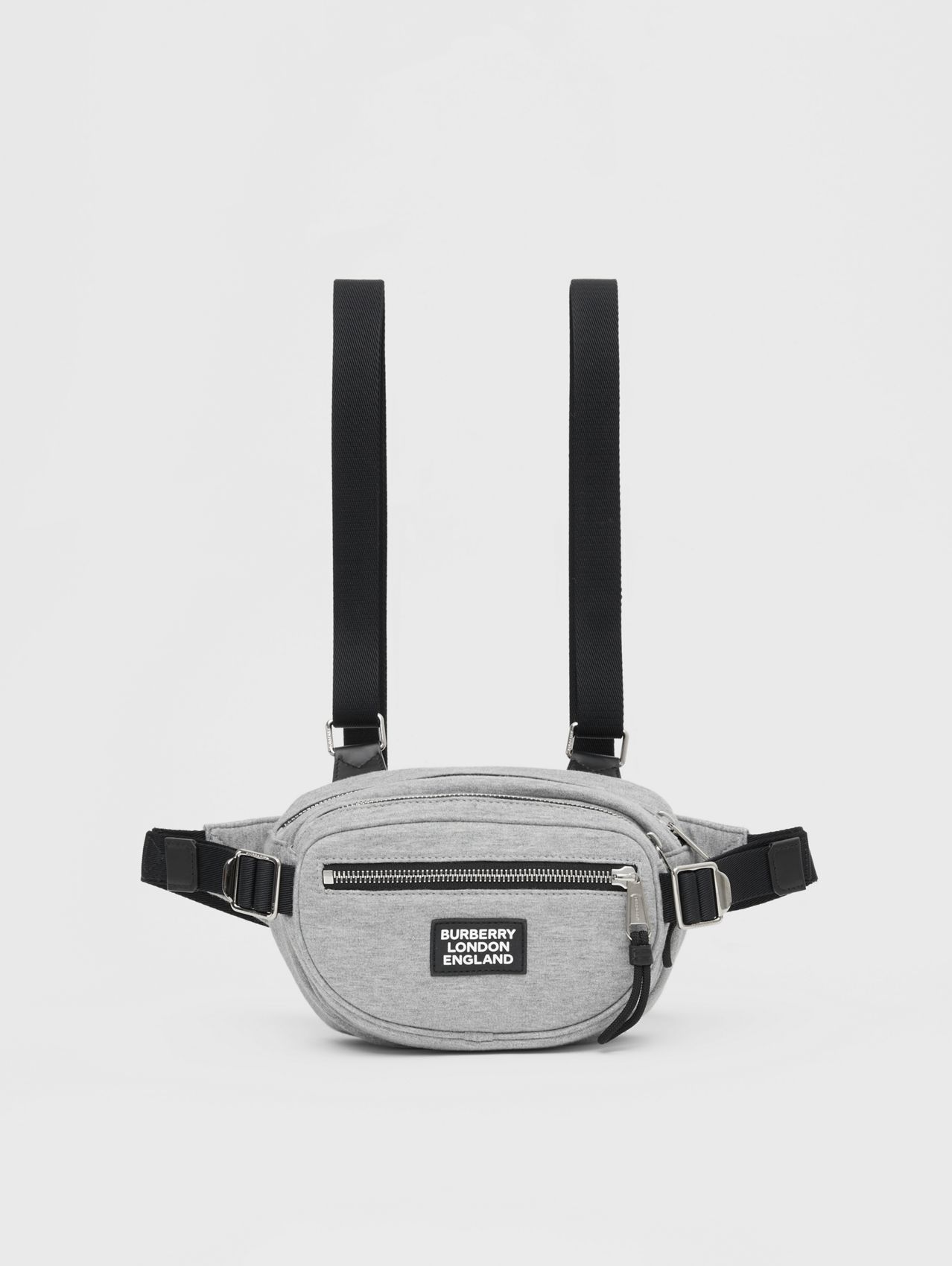 Logo Appliqué Cotton Jersey Cannon Belt Pack in Light Pebble Grey