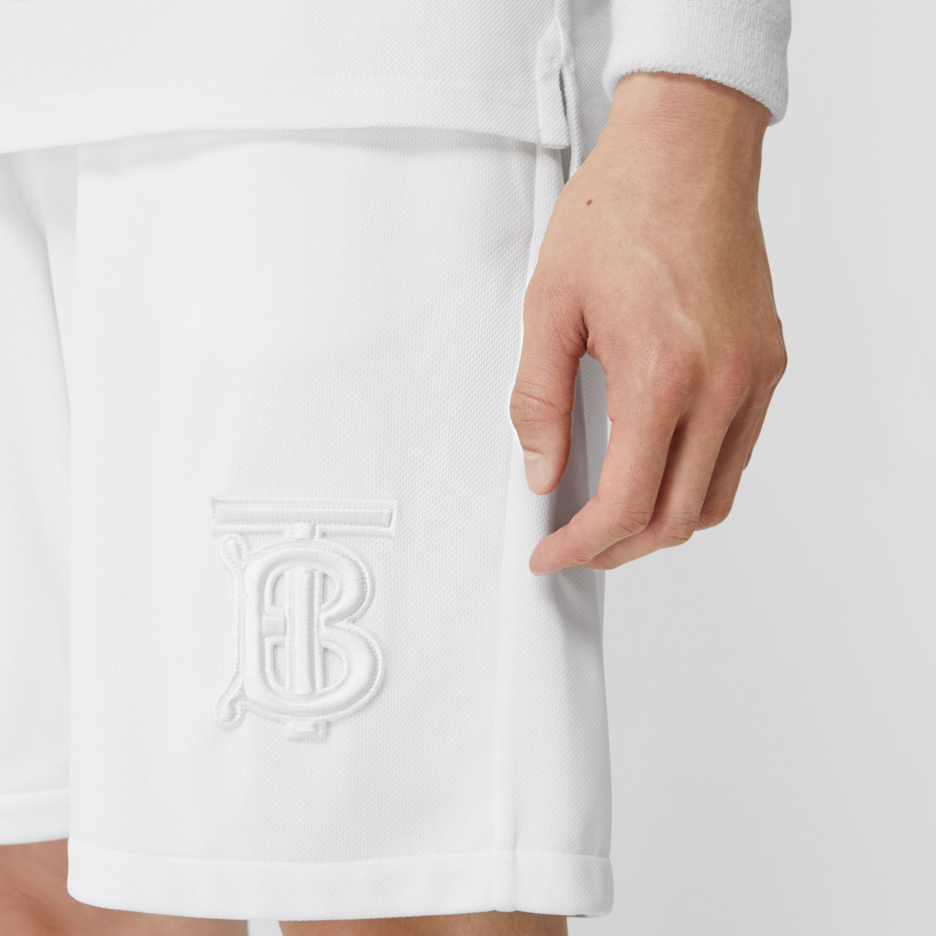 Monogram Motif Jersey Tennis Shorts in White - Men | Burberry - gallery image 5