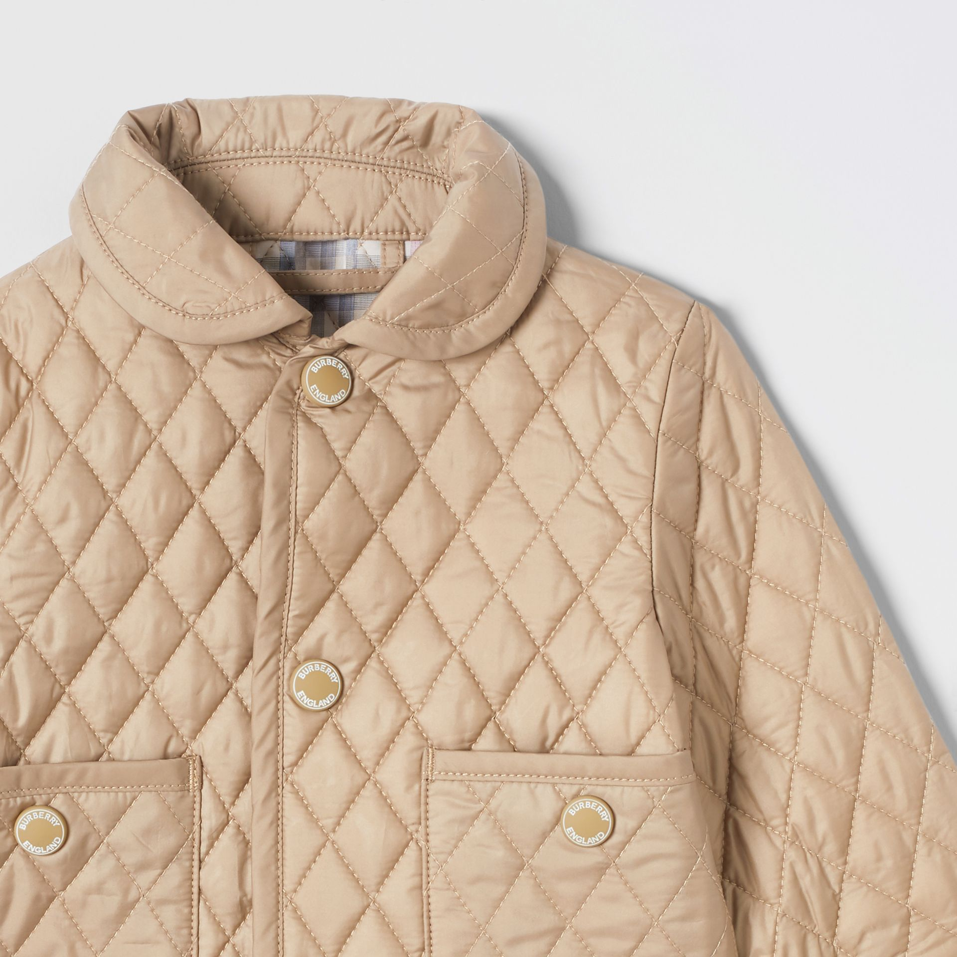 Showerproof Diamond Quilted Jacket in Walnut - Children | Burberry Hong Kong S.A.R - gallery image 5