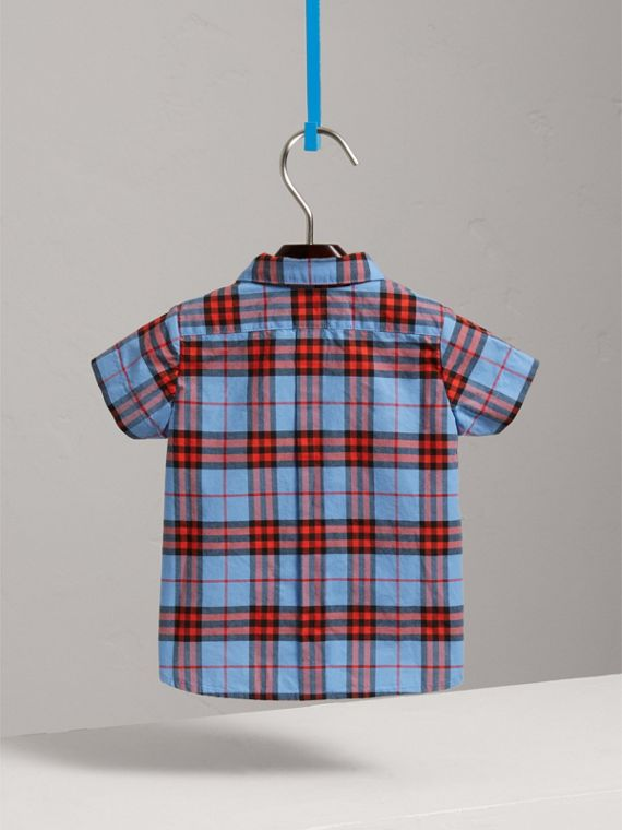 Short-sleeve Check Cotton Shirt in Cornflower Blue | Burberry - cell image 3