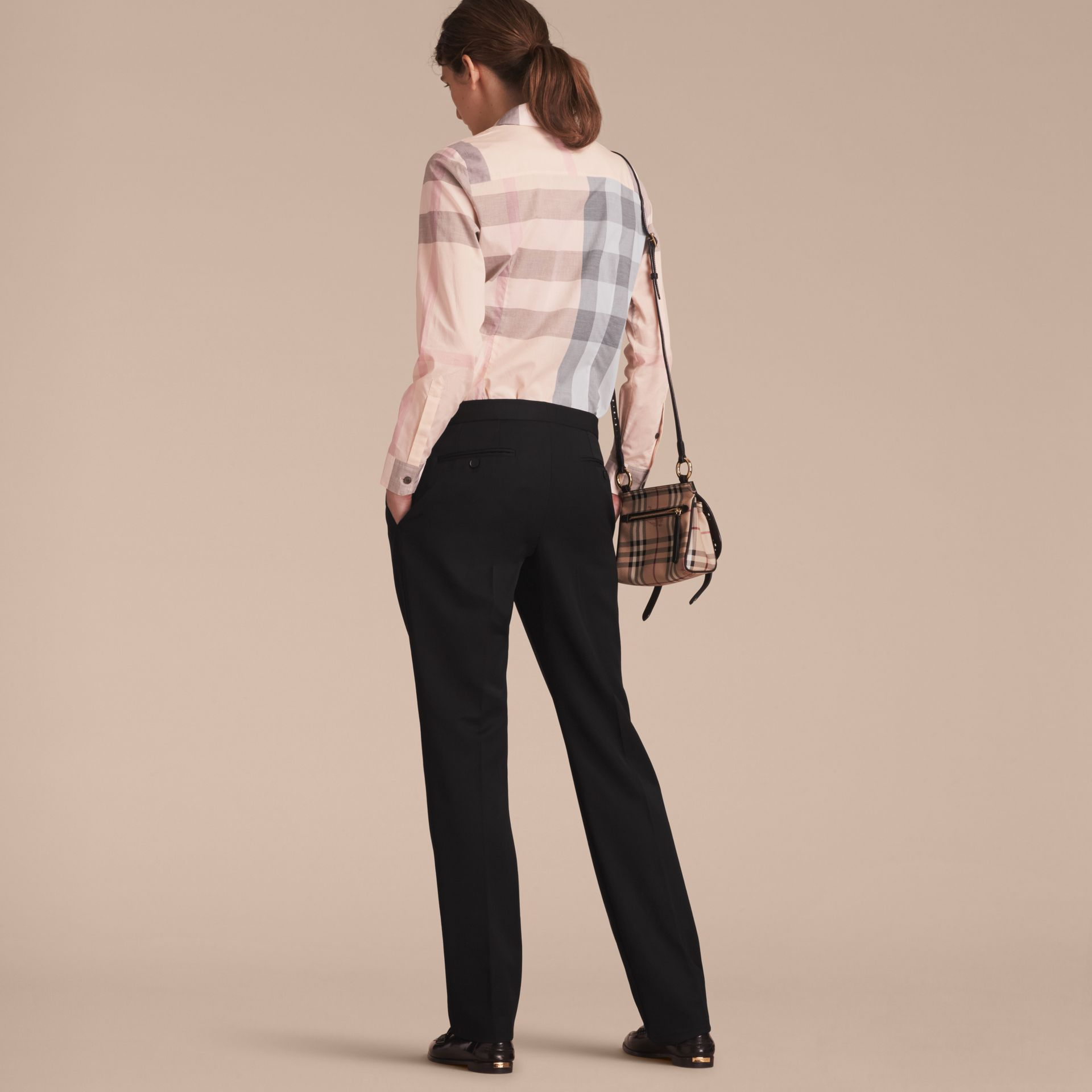 Check Cotton Shirt Apricot - gallery image 3