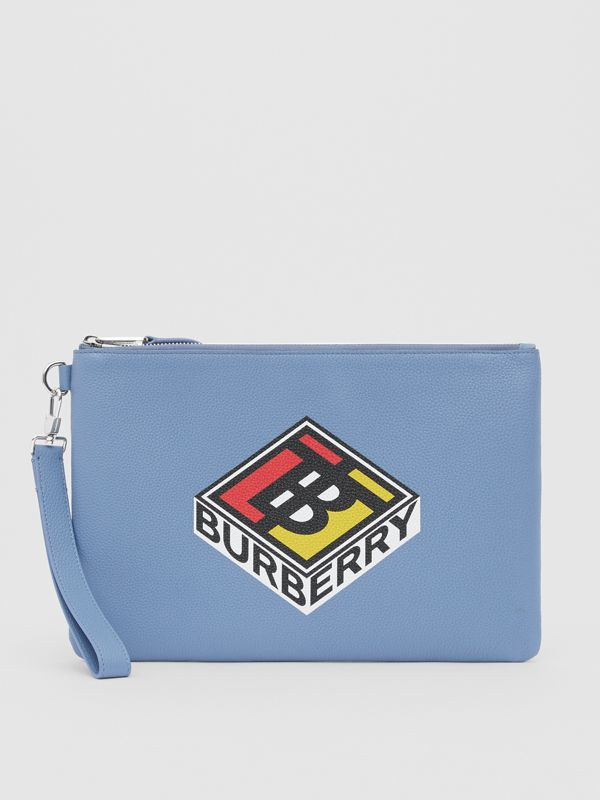 Logo Graphic Grainy Leather Zip Pouch in Pale Bluebell | Burberry - cell image 3