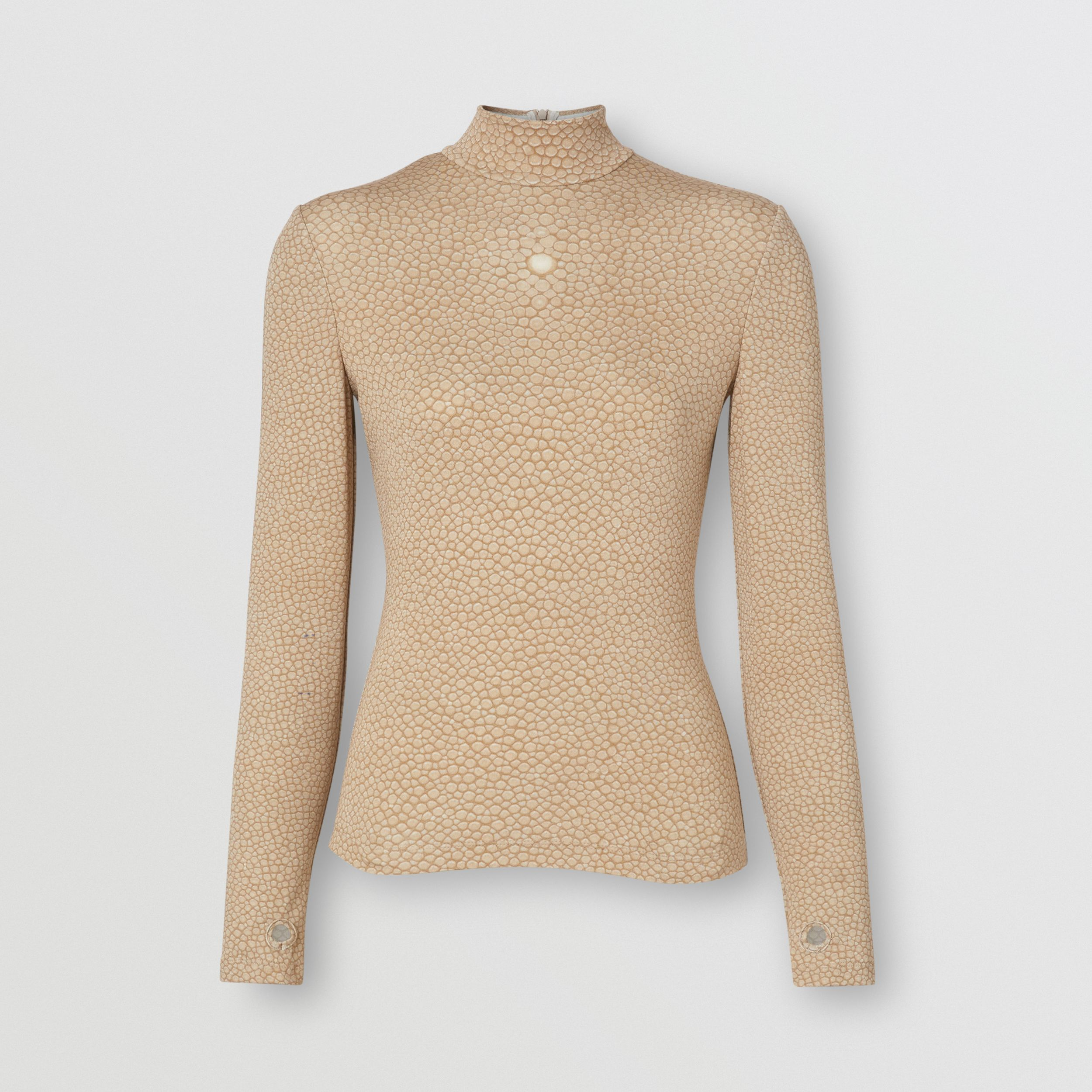 Fish-scale Print Stretch Jersey Turtleneck Top in Light Sand - Women | Burberry - 4
