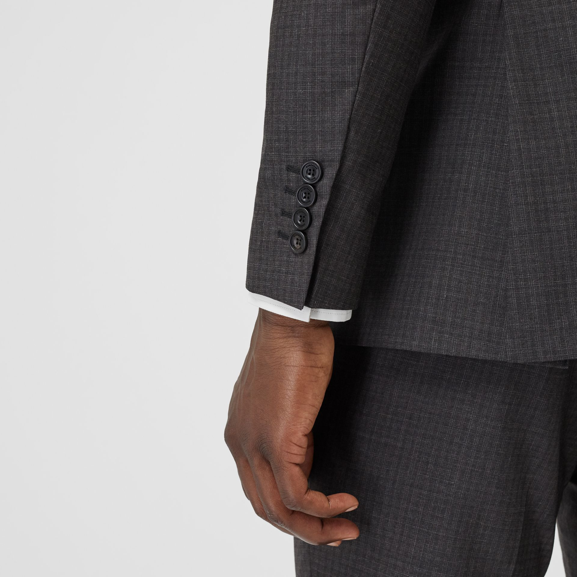 Classic Fit Windowpane Check Wool Silk Suit in Dark Grey - Men | Burberry - gallery image 4