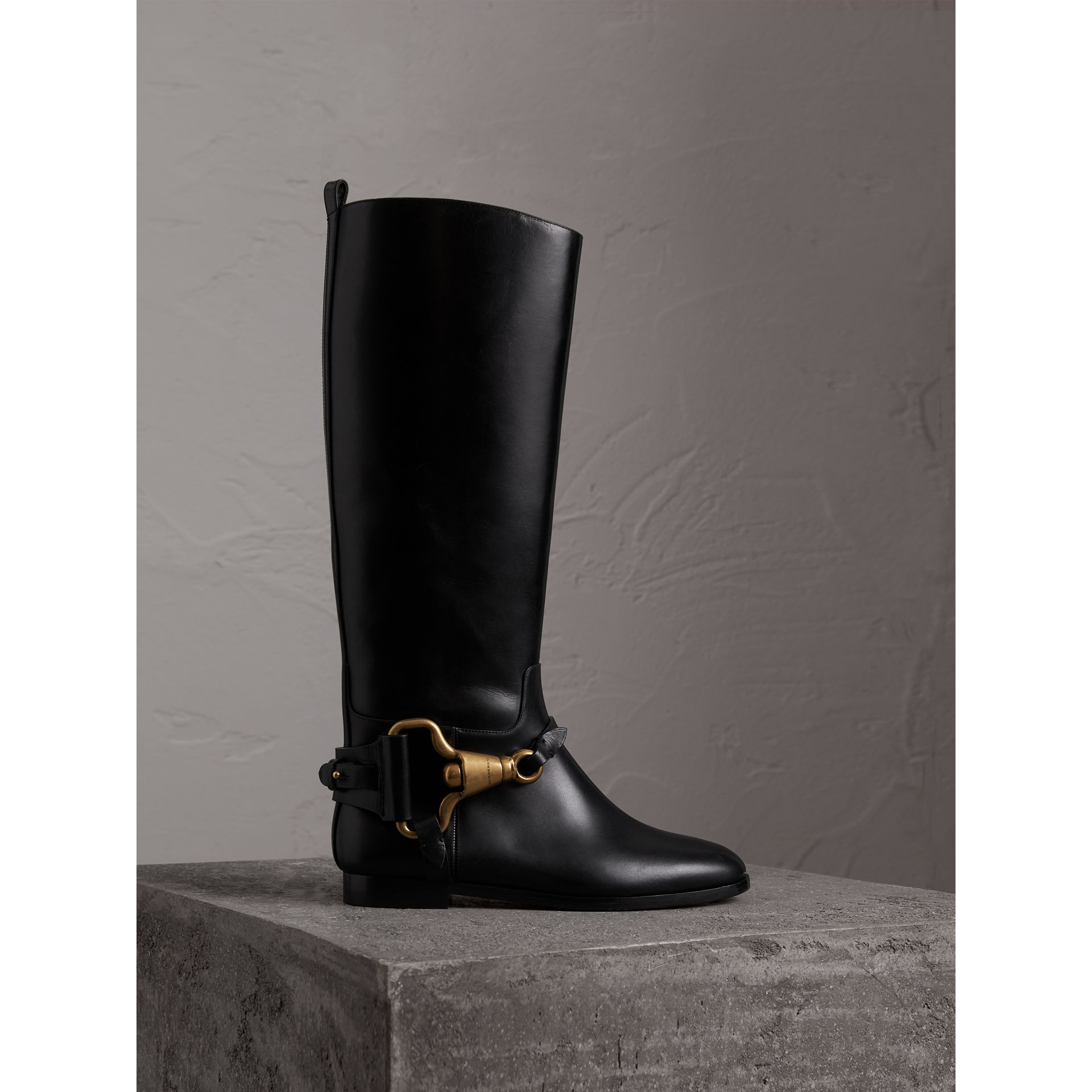 Equestrian Detail Leather Riding Boots in Black - Women | Burberry - gallery image 0