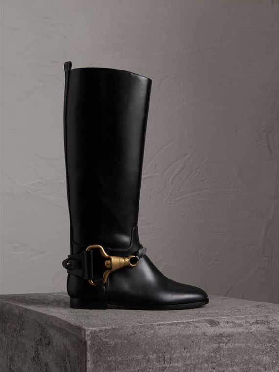 Equestrian Detail Leather Riding Boots in Black