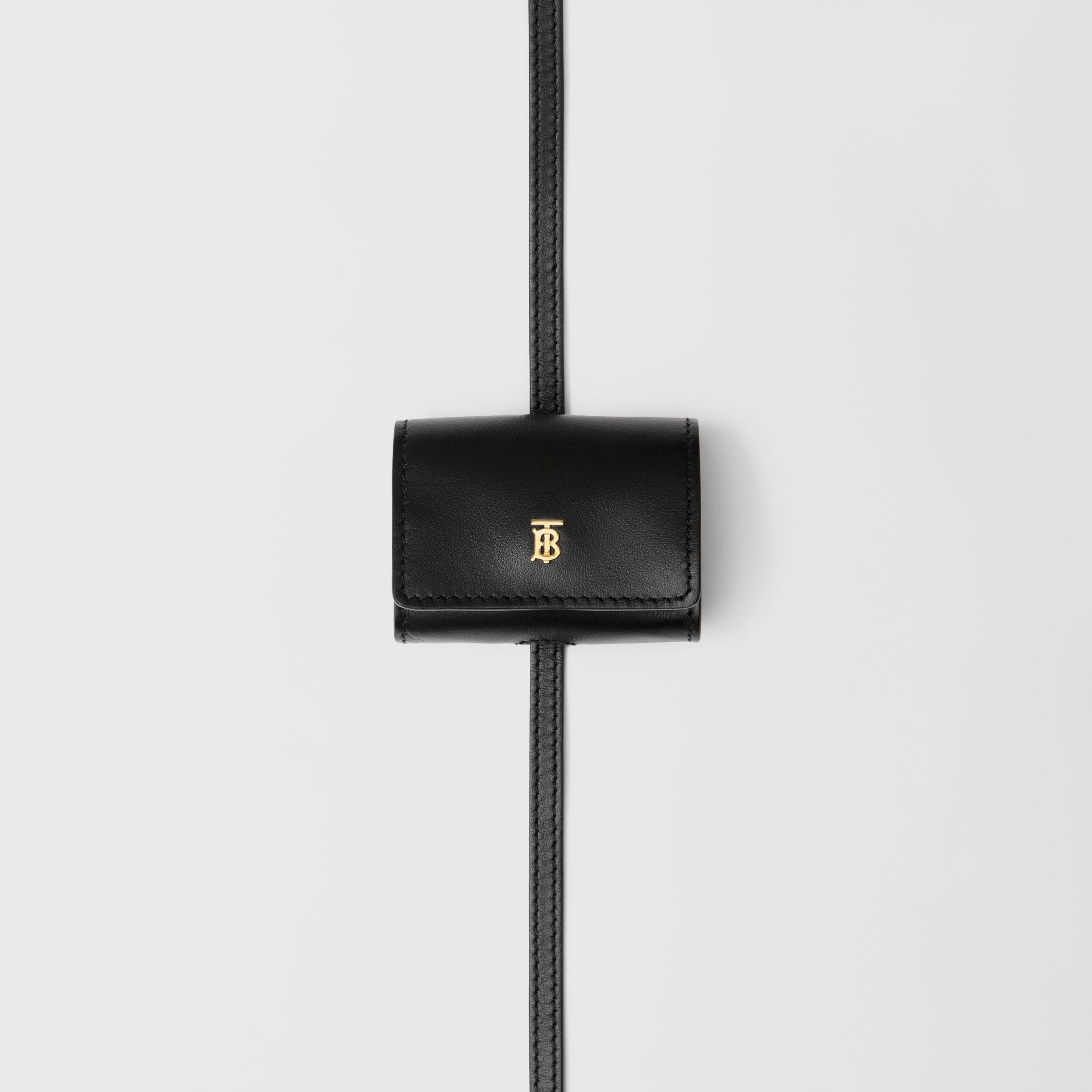 Leather AirPods Pro Case Lanyard in Black | Burberry - 2