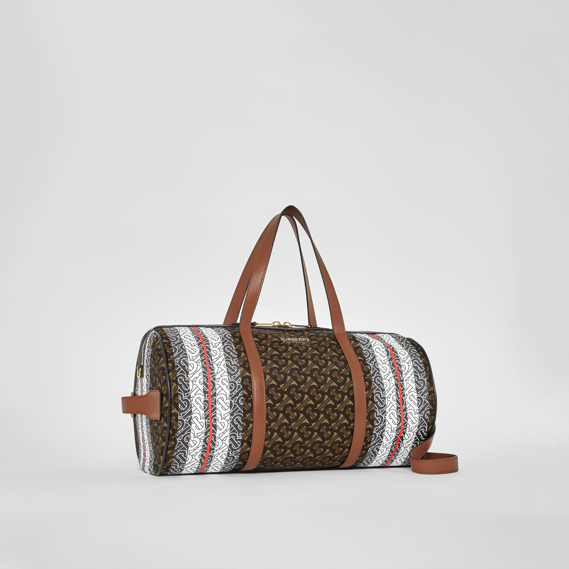 Medium Monogram Stripe E-canvas Barrel Bag in Bridle Brown | Burberry - gallery image 8
