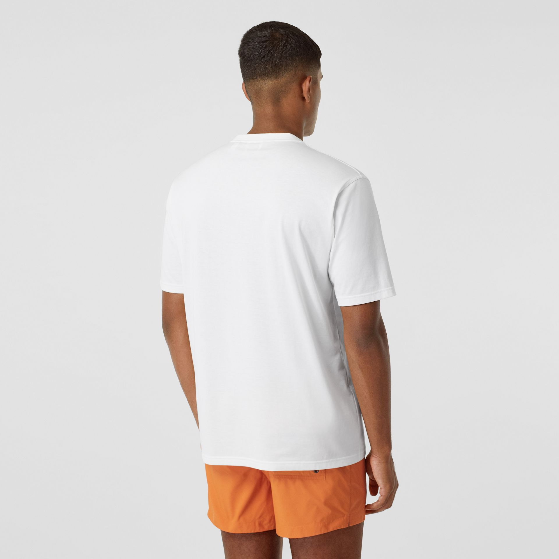 Contrast Logo Graphic Cotton T-shirt in White - Men | Burberry - gallery image 1