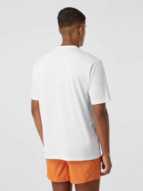 Contrast Logo Graphic Cotton T-shirt in White - Men | Burberry - cell image 1