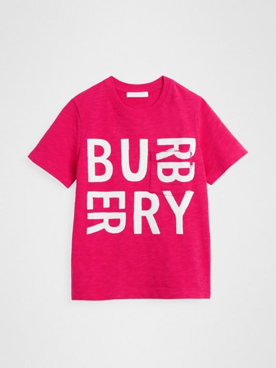 Logo Print Cotton T-shirt in Raspberry Pink