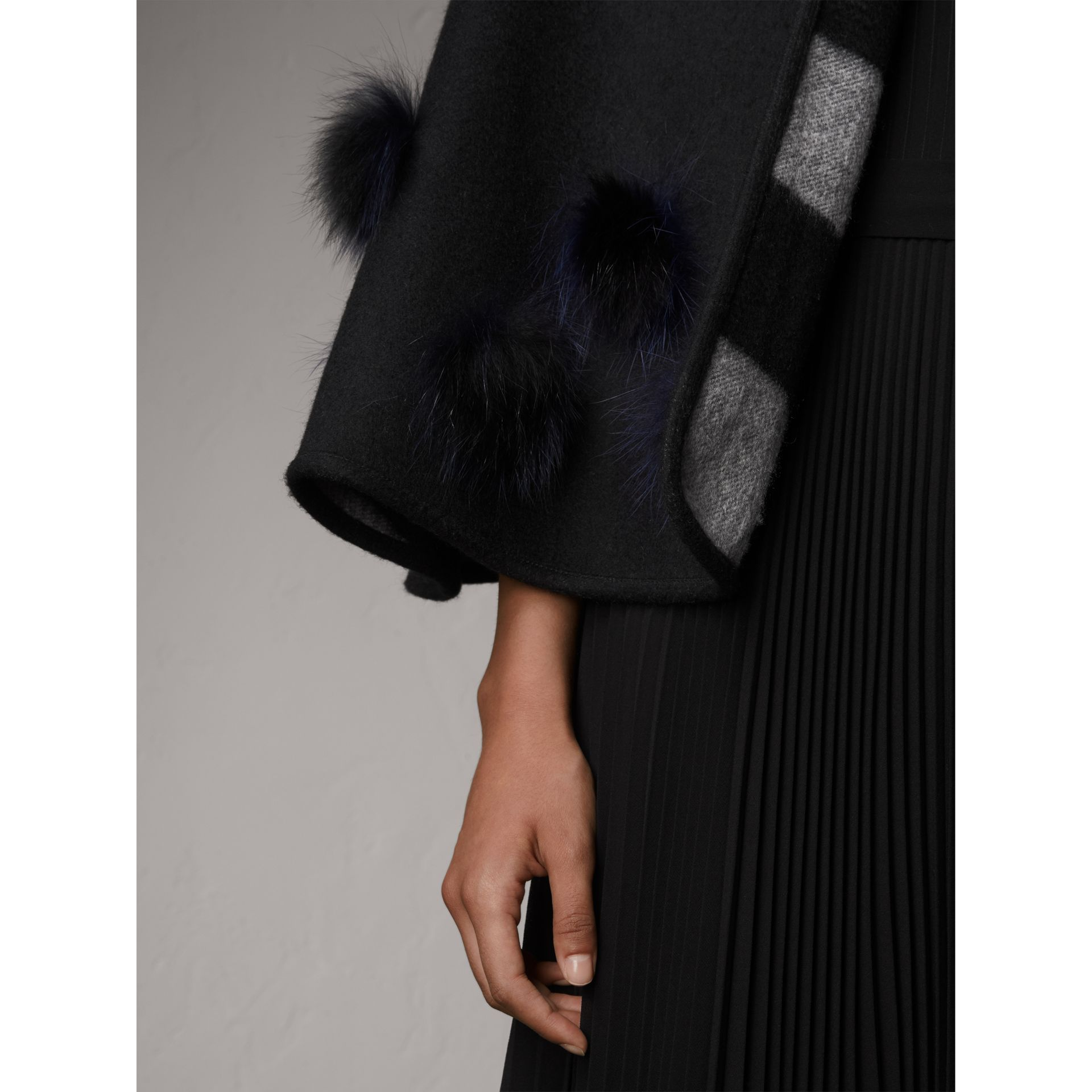 Fur Pom-pom Detail Double-faced Cashmere Wool Cape in Black - Women | Burberry - gallery image 2