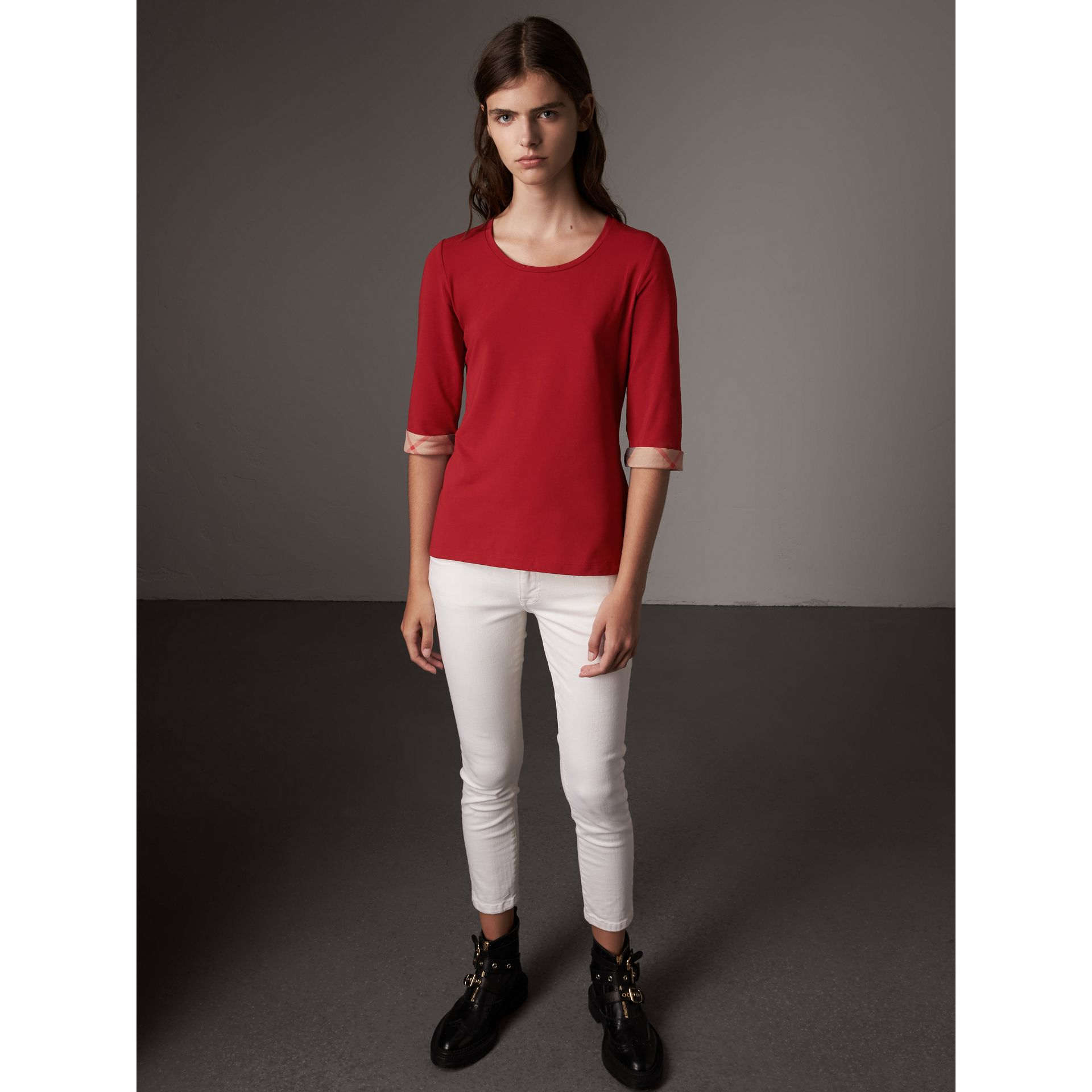 Check Cuff Stretch-Cotton Top in Lacquer Red - Women | Burberry Canada - gallery image 1