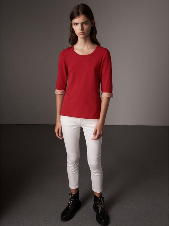 Check Cuff Stretch-Cotton Top in Lacquer Red
