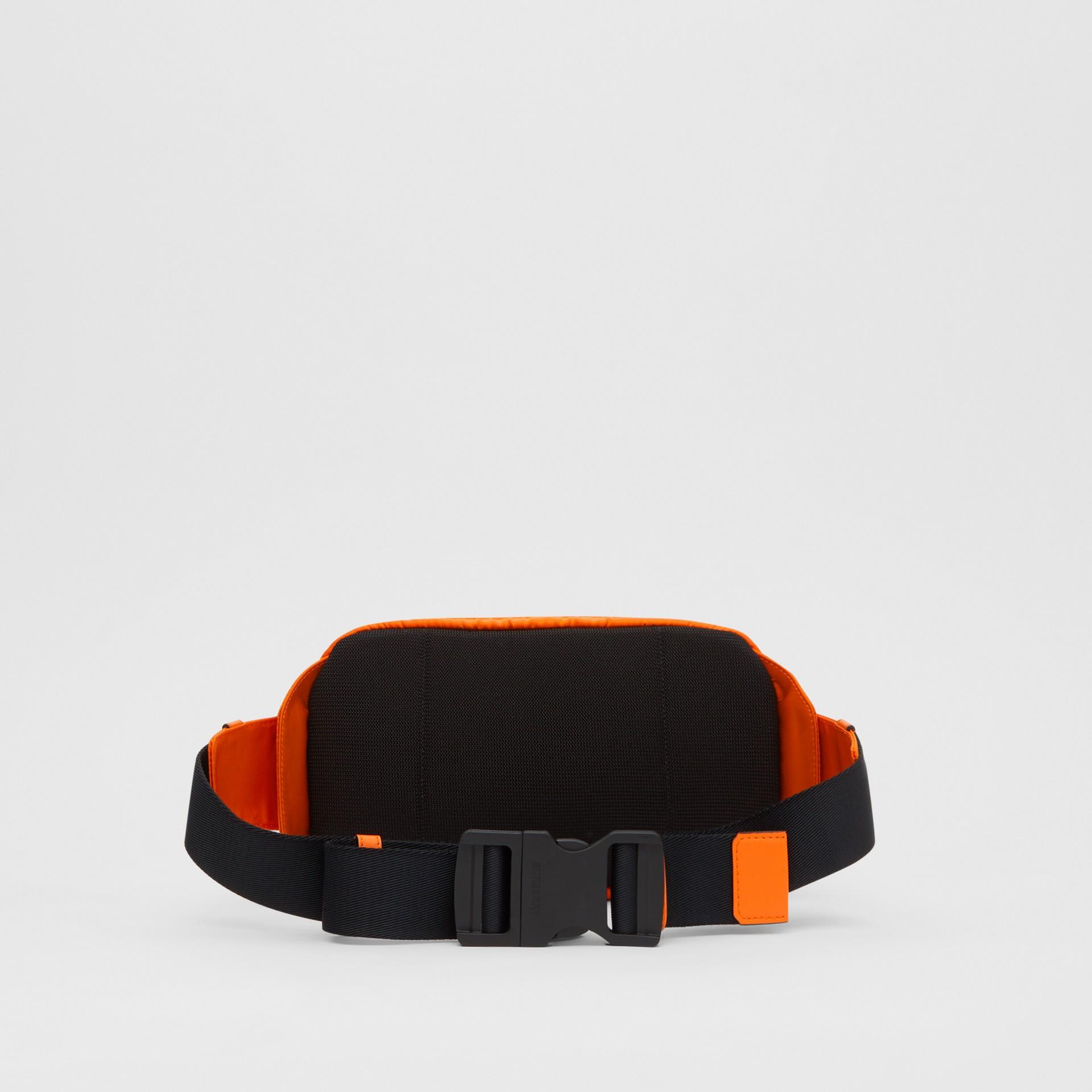 Logo Embossed Panel Nylon Bum Bag in Bright Orange - Men | Burberry United Kingdom - gallery image 5