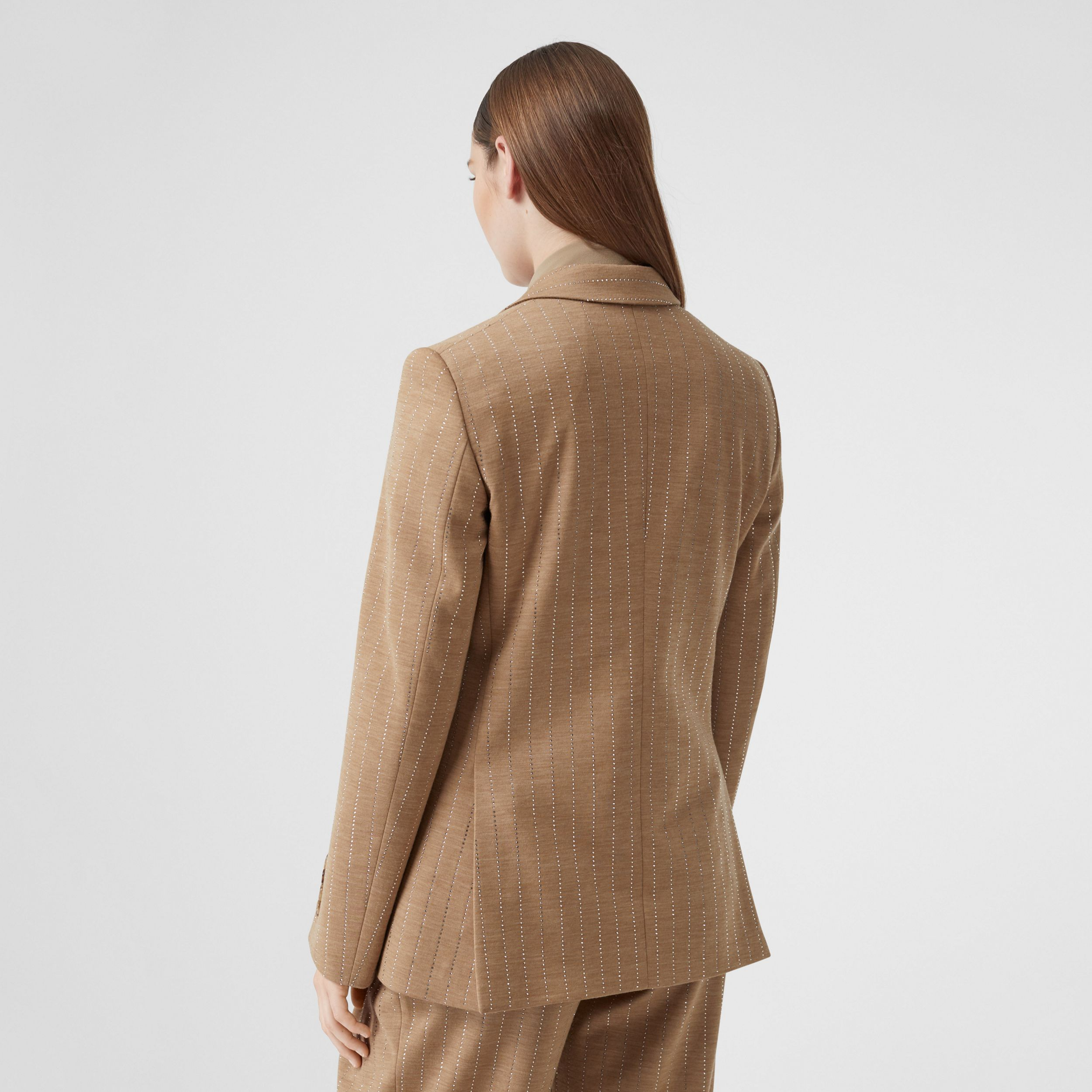 Crystal Pinstriped Technical Wool Jersey Blazer in Pecan Melange - Women | Burberry - 3
